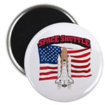Space Shuttle and Flag Magnet