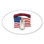 Space Shuttle and Flag Sticker (Oval 50 pk)