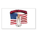 Space Shuttle and Flag Sticker (Rectangle)