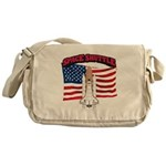 Space Shuttle and Flag Messenger Bag