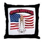 Space Shuttle and Flag Throw Pillow