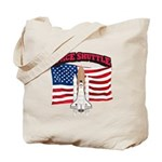 Space Shuttle and Flag Tote Bag