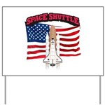 Space Shuttle and Flag Yard Sign
