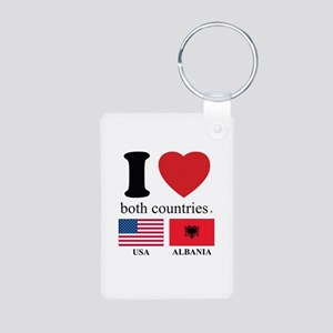 USA-ALBANIA Aluminum Photo Keychain