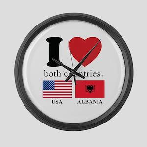 USA-ALBANIA Large Wall Clock