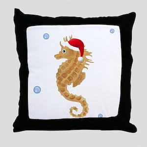 Santa - Seahorse Throw Pillow