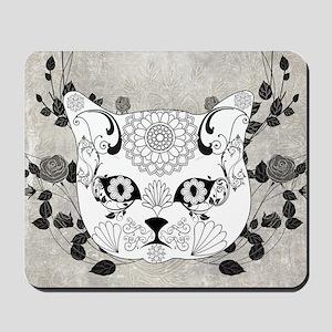 Wonderful sugar cat skull Mousepad