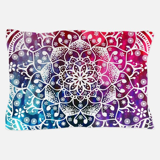 Namaste Red Purple Blue Mandala Pillow Case