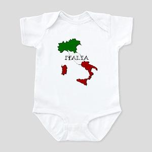 Italy Flag Map Baby Light Bodysuit