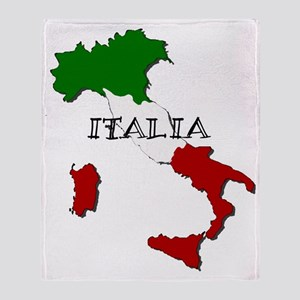 Italy Flag Map Throw Blanket