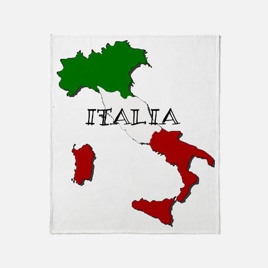 Italy Flag Map Throw Blanket