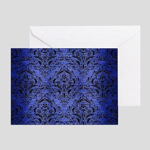 DAMASK1 BLACK MARBLE & BLUE BRUSHED Greeting Card