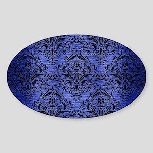 DAMASK1 BLACK MARBLE & BLUE BRUSHED Sticker (Oval)