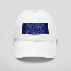 DAMASK1 BLACK MARBLE & BLUE BRUSHED METAL (R) Cap