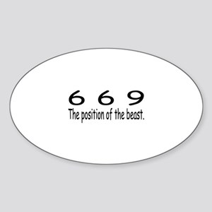 """""""669 - Position Of The Beast"""" Oval Sticker"""