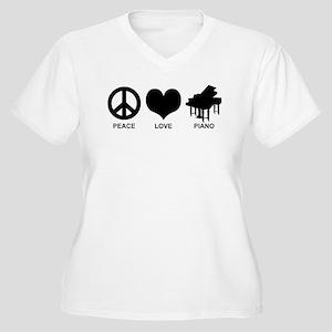 Peace Love Piano Women's Plus Size V-Neck T-Shirt