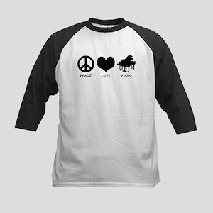 Peace Love Piano Kids Baseball Jersey