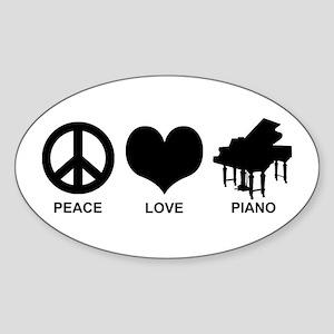 Peace Love Piano Sticker (Oval)