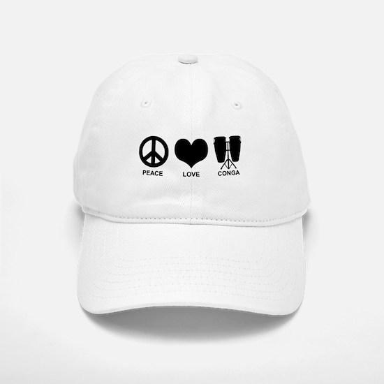 Peace Love Conga Baseball Baseball Cap