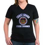 Rescue Swimmer Women's V-Neck Dark T-Shirt