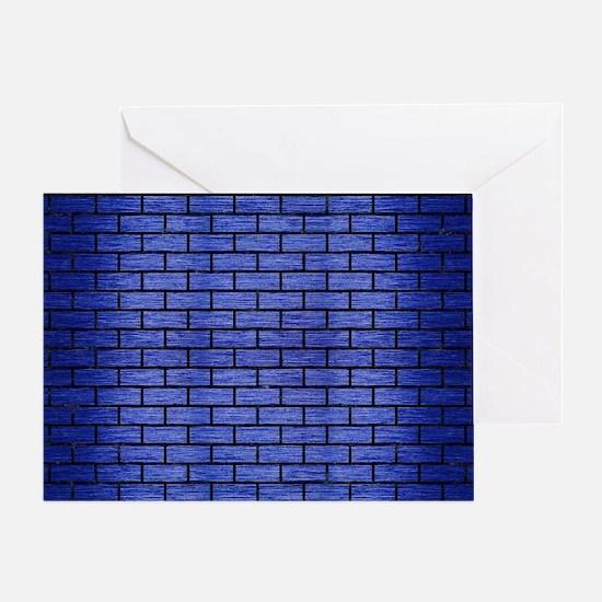 BRICK1 BLACK MARBLE & BLUE BRUSHED M Greeting Card