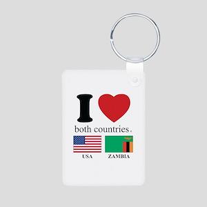 USA-ZAMBIA Aluminum Photo Keychain