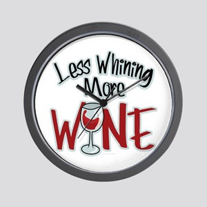 Less Whining More Wine Wall Clock
