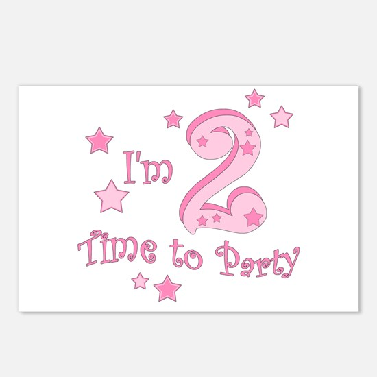 Second / 2nd birthday toddler girl pink Postcards