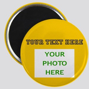 Your Text & Photo (Black Text on Yellow Bac Magnet