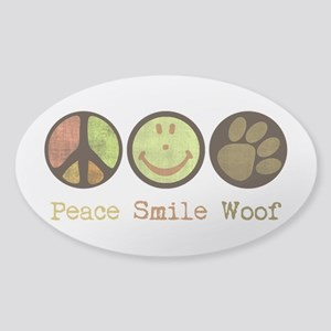 Smile and WOOF Sticker (Oval)