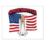 Space Shuttle and Flag Small Poster