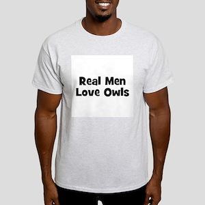 Real Men Love Owls Ash Grey T-Shirt