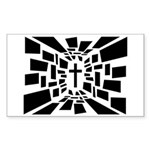 Christian Cross Sticker (Rectangle 50 pk)