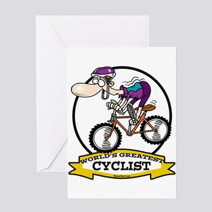 WORLDS GREATEST CYCLIST MEN CARTOON Greeting Card