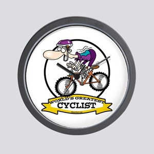 WORLDS GREATEST CYCLIST MEN CARTOON Wall Clock