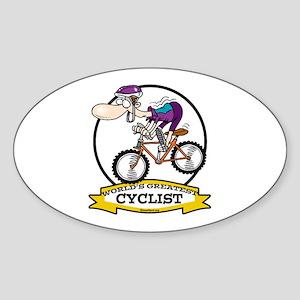 WORLDS GREATEST CYCLIST MEN CARTOON Sticker (Oval)