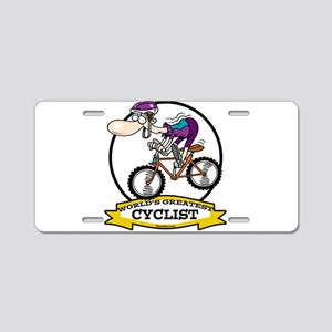 WORLDS GREATEST CYCLIST MEN CARTOON Aluminum Licen