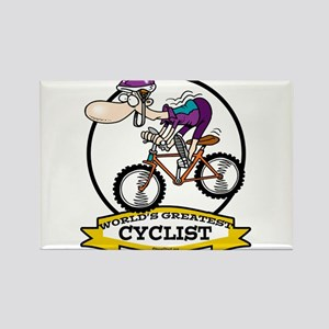 WORLDS GREATEST CYCLIST MEN CARTOON Rectangle Magn