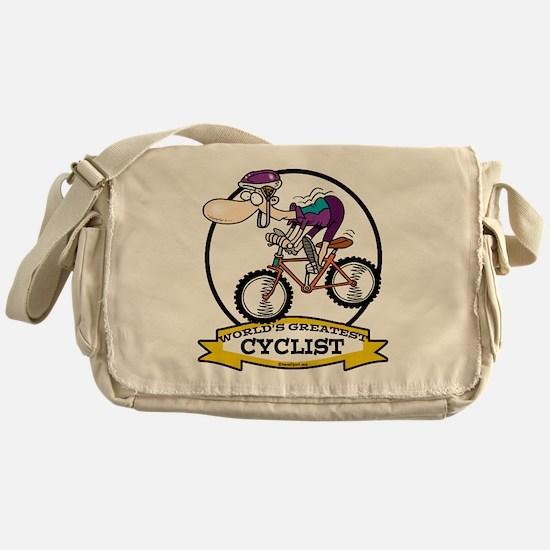 WORLDS GREATEST CYCLIST MEN CARTOON Messenger Bag