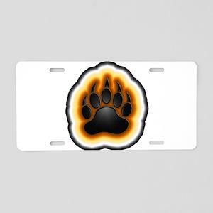 Bear Pride Glowing Paw Aluminum License Plate