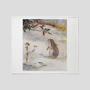 1927 Christmas Bunny Throw Blanket