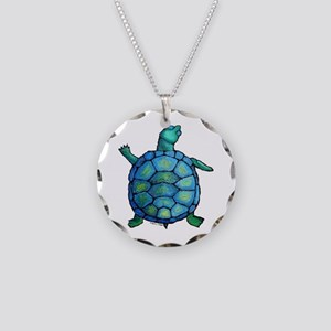 Blue Turtle Boogie Necklace Circle Charm