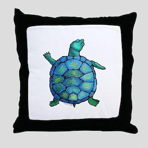 Blue Turtle Boogie Throw Pillow