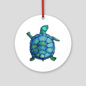 Blue Turtle Boogie Ornament (Round)