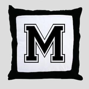Varsity Letter M Throw Pillow