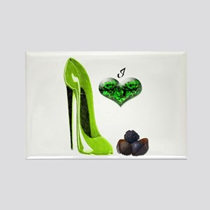 Love Chocolates and Lime Gree Rectangle Magnet