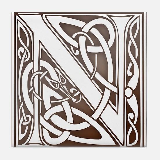 Celtic Letter N Tile Coaster