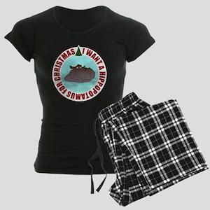 Hippo for Christmas Women's Dark Pajamas