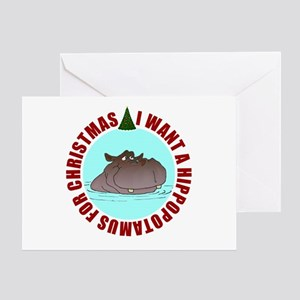 Hippo for Christmas Greeting Card