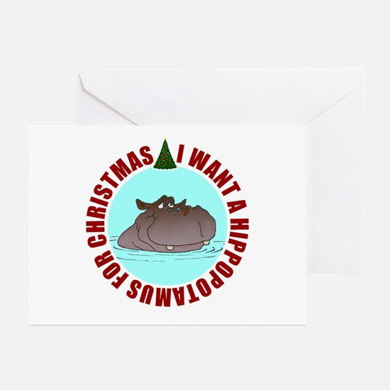 Hippo for Christmas Greeting Cards (Pk of 20)
